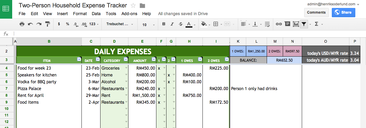 Expense Tracker Screenshot
